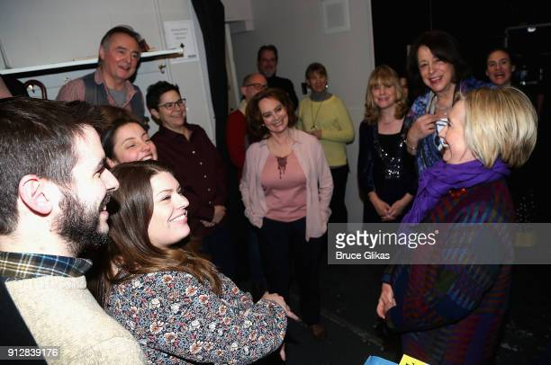 Hillary Clinton chats with the cast and crew backstage at the Manhattan Theatre Club's The Children on Broadway at The Samuel J Friedman Theater on...