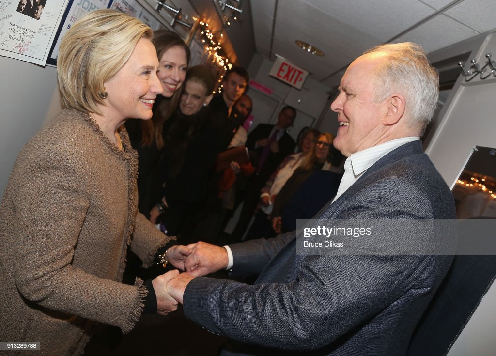 Hillary Clinton, Chelsea Clinton Mezvinsky and John Lithgow chat backstage at the Roundabout Theatre Company's hit production of 'John Lithgow: Stories By Heart' on Broadway at The American Airlines Theatre on February 1, 2018 in New York City.