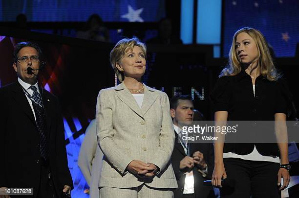 Hillary Clinton comes onto the stage for a walkthrough at the Pepsi Center during the second day of the Democratic National Convention on Tuesday...
