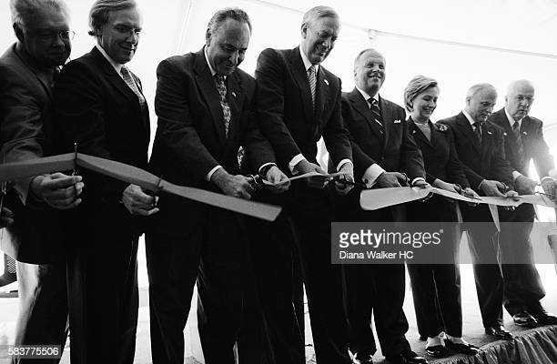 Hillary Clinton cuts an inauguration ribbon at the NY State Center of Excellence in Bioinformaatics and Life Sciences at the University at Buffalo...