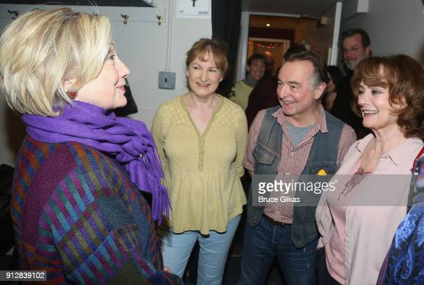 Hillary Clinton Deborah Findlay Ron Cook and Francesca Annis chat backstage at the Manhattan Theatre Club's The Children on Broadway at The Samuel J...
