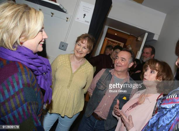 """Hillary Clinton, Deborah Findlay, Ron Cook and Francesca Annis chat backstage at the Manhattan Theatre Club's """"The Children"""" on Broadway at The..."""