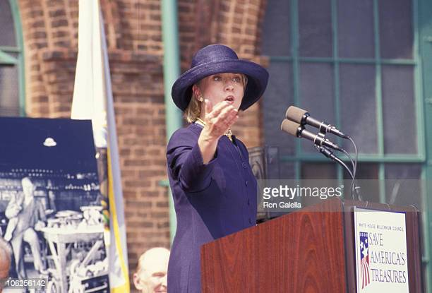 Hillary Clinton during General Electric Donates 5 Million Dollars for Edison Historic Site Restoration at Edison Historic Site in West Orange New...