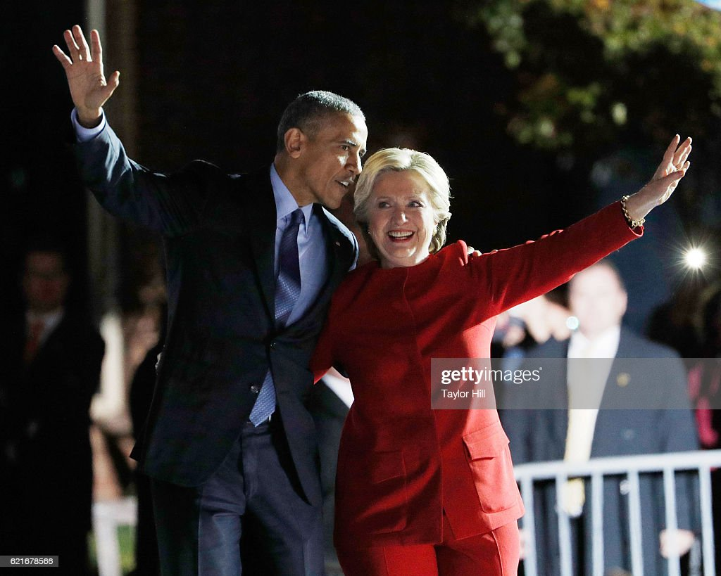 Hillary Clinton embraces Barack Obama during 'The Night Before' rally at Independence Hall on November 7, 2016 in Philadelphia, Pennsylvania.