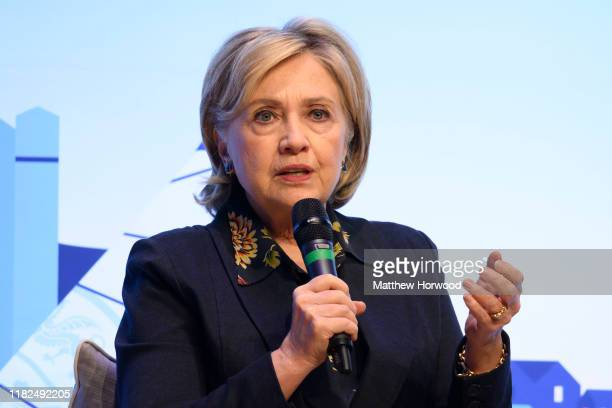 Hillary Clinton Former First Lady and US Secretary of State speaks during a visit to Swansea University on November 15 2019 in Swansea Wales The...