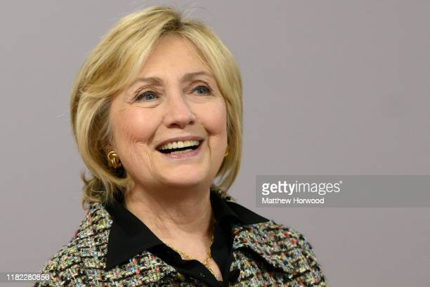 Hillary Clinton, Former First Lady and U.S. Secretary of State, visits Swansea University on November 14, 2019 in Swansea, Wales. Hillary Rodham...