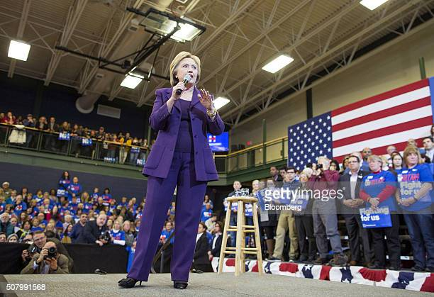 Hillary Clinton former Secretary of State and 2016 Democratic presidential candidate speaks during a campaign event at Nashua Community College in...