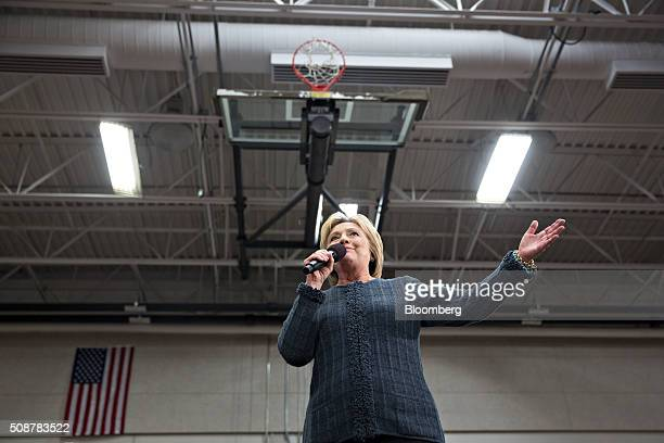 Hillary Clinton former Secretary of State and 2016 Democratic presidential candidate speaks during a campaign event in Concord New Hampshire US on...