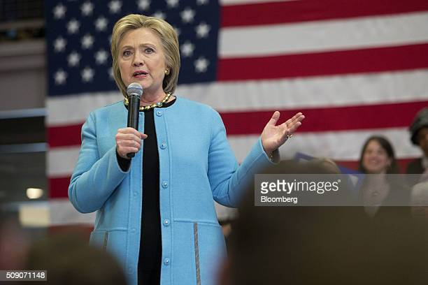 Hillary Clinton former Secretary of State and 2016 Democratic presidential candidate speaks during a campaign event in Manchester New Hampshire US on...