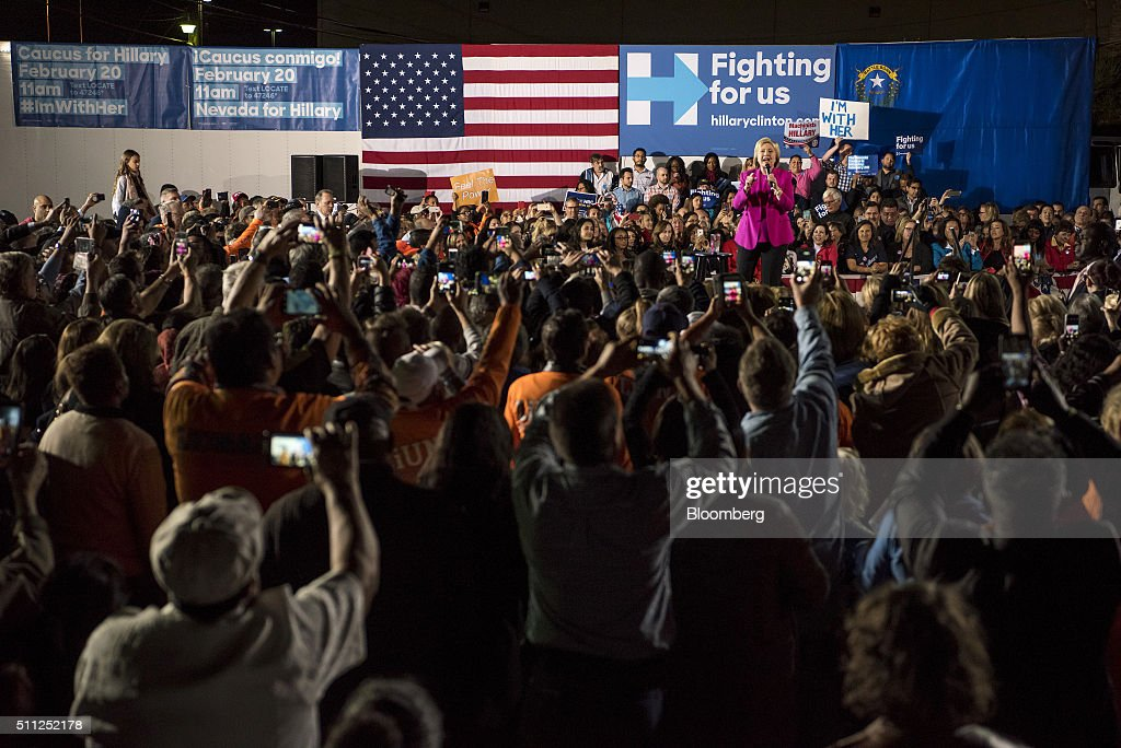 Hillary Clinton, former Secretary of State and 2016 Democratic presidential candidate, speaks during a campaign rally at the Laborers International Union in Las Vegas, Nevada, U.S., on Thursday, Feb. 18, 2016. Polling suggests Clinton is in danger of being overtaken by Sanders, a Vermont senator and self-described democratic socialist when the Nevada caucuses are held on February 20. Photographer: David Paul Morris/Bloomberg via Getty Images