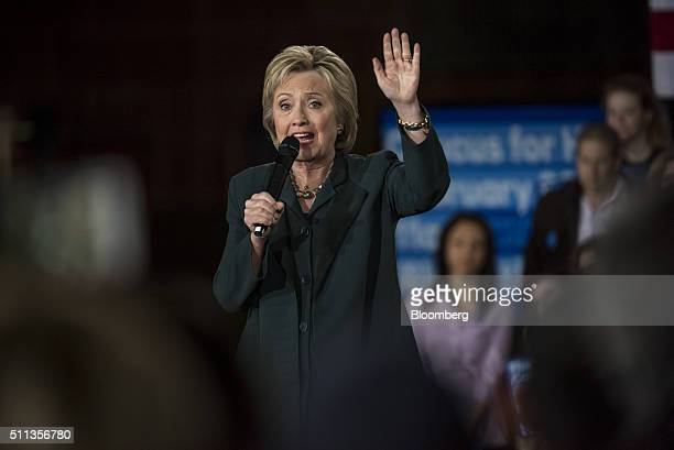 Hillary Clinton former Secretary of State and 2016 Democratic presidential candidate speaks during a campaign rally at the Clark County Government...