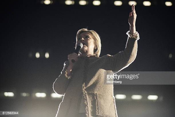 Hillary Clinton former Secretary of State and 2016 Democratic presidential candidate speaks during a town hall event at the Columbia Museum of Art...