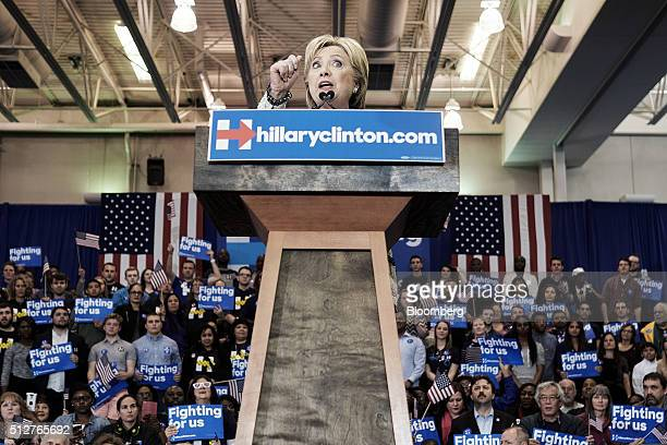 Hillary Clinton former Secretary of State and 2016 Democratic presidential candidate speaks during a primary election night rally at the University...