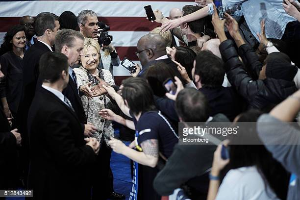 Hillary Clinton former Secretary of State and 2016 Democratic presidential candidate greets attendees during a primary election night rally at the...