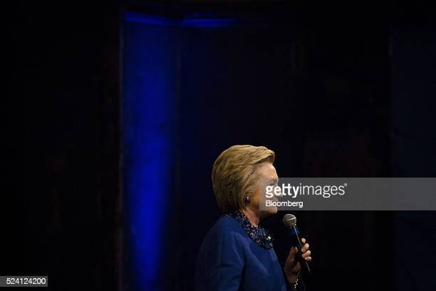 Hillary Clinton former Secretary of State and 2016 Democratic presidential candidate smiles while speaking during a campaign event in Wilmington...