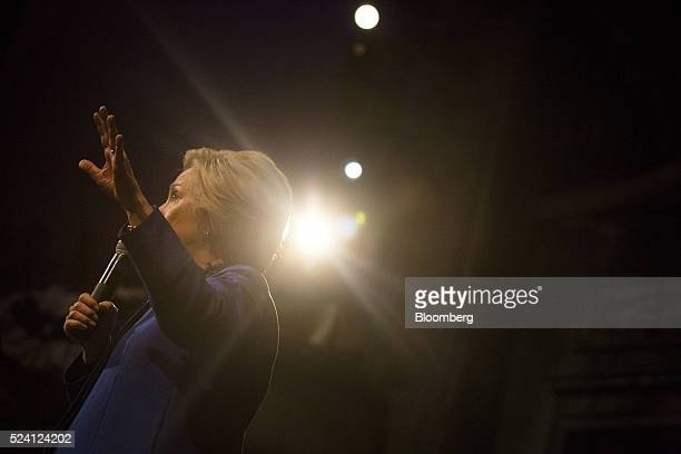 Hillary Clinton former Secretary of State and 2016 Democratic presidential candidate speaks during a campaign event in Wilmington Delaware US on...