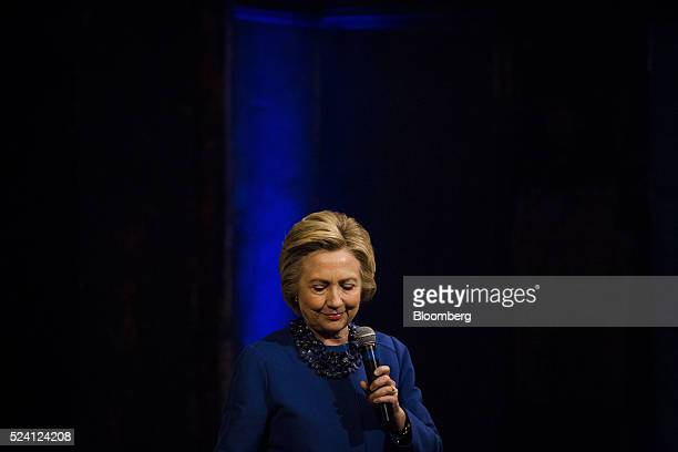 Hillary Clinton former Secretary of State and 2016 Democratic presidential candidate pauses while speaking during a campaign event in Wilmington...