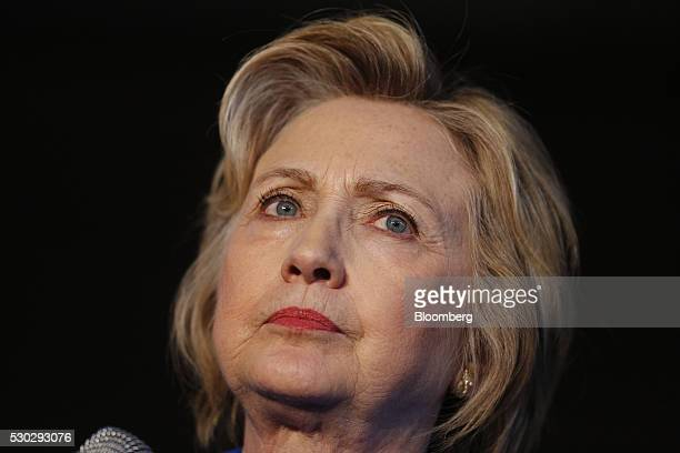 Hillary Clinton former Secretary of State and 2016 Democratic presidential candidate pauses while speaking during a campaign event in Louisville...