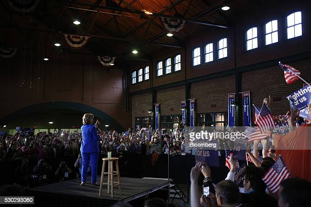 Hillary Clinton former Secretary of State and 2016 Democratic presidential candidate gestures during a campaign event in Louisville Kentucky US on...
