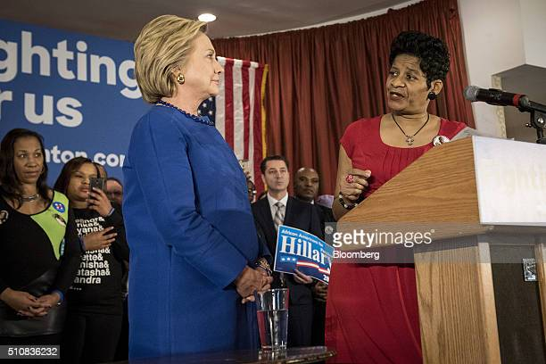 Hillary Clinton, former Secretary of State and 2016 Democratic presidential candidate, left, listens to Geneva Reed-Veal, mother of Sandra Bland,...