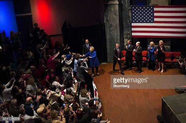Hillary Clinton former Secretary of State and 2016 Democratic presidential candidate greets attendees before speaking at a campaign event in...