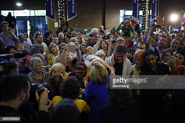 Hillary Clinton former Secretary of State and 2016 Democratic presidential candidate center greets attendees after speaking during a campaign event...