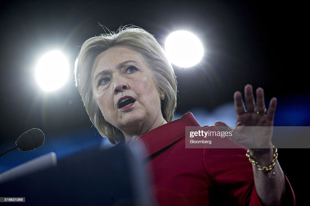 Hillary Clinton, former Secretary of State and 2016 Democratic presidential candidate, speaks during the American Israeli Public Affairs Committee (AIPAC) policy conference in Washington, D.C., U.S., on Monday, March 21, 2016. The presidential race will take a detour from domestic sniping today as Clinton, Donald Trump and Trumps two Republican opponents converge on Washington to address a key pro-Israel group. Photographer: Andrew Harrer/Bloomberg via Getty Images