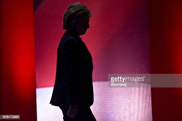 Hillary Clinton former Secretary of State and 2016 Democratic presidential candidate walks off stage during a break in the Democratic presidential...