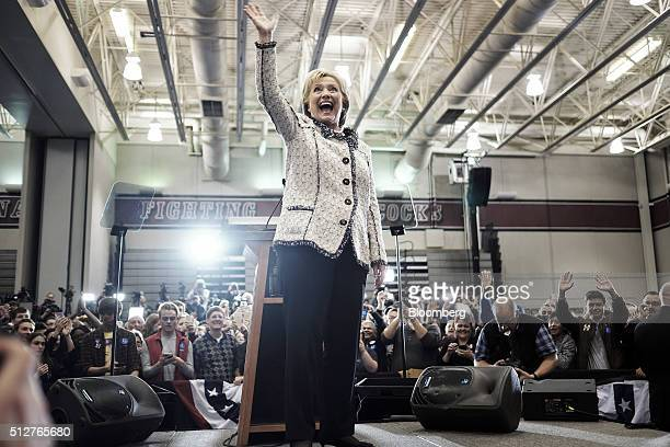 Hillary Clinton former Secretary of State and 2016 Democratic presidential candidate waves to attendees after speaking at a primary election night...