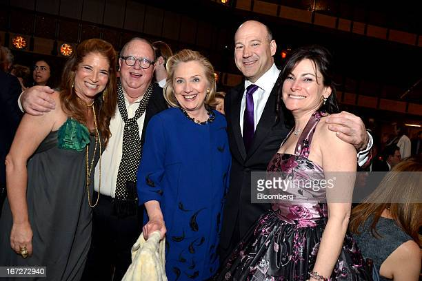 Hillary Clinton former Secretary of State center stands for a photograph with Ann Tenenbaum chairman of Film Society of Lincoln Center from left...
