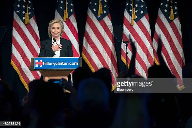 Hillary Clinton former US secretary of state and 2016 Democratic presidential candidate acknowledges applause from the audience during a speech at...