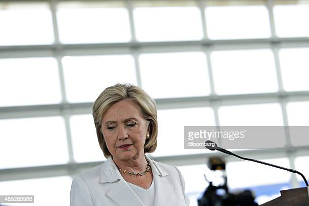 Hillary Clinton former US secretary of state and 2016 Democratic presidential candidate speaks during a news conference in Ankeny Iowa US on...
