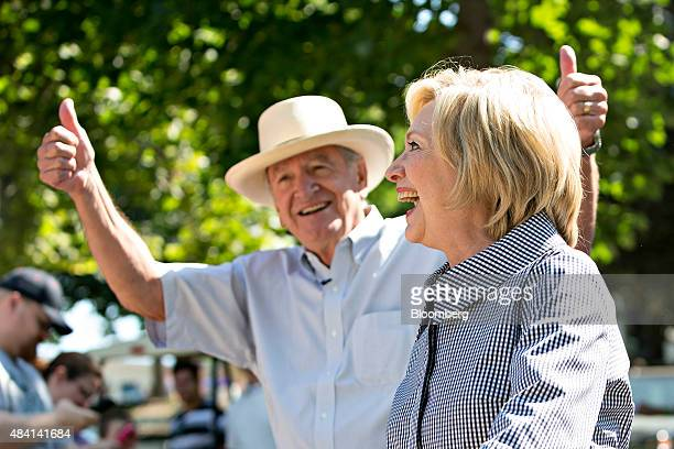 Hillary Clinton former US secretary of state and democratic candidate for US president arrives with Tom Harkin former Iowa Democratic Senator at the...