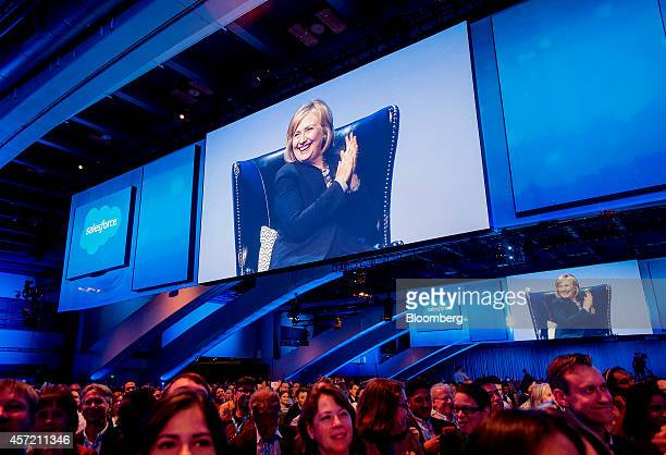 Hillary Clinton, former U.S. Secretary of state, is seen on a screen while speaking the DreamForce Conference in San Francisco, California, U.S., on...