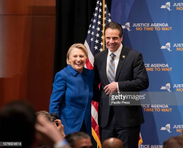 Hillary Clinton Governor Andrew Cuomo on stage at rally on reproductive health act at Barnard College