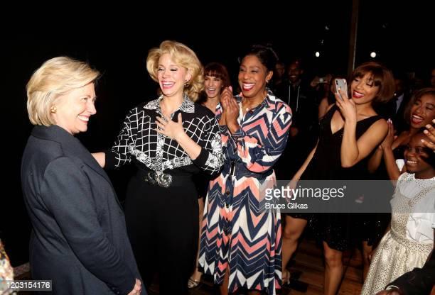"Hillary Clinton greets Jessica Rush as ""Rhonda"", Dawnn Lewis as ""Zelma Bullock"" and cast backstage at the hit musical ""TINA – The Tina Turner..."