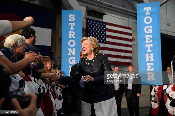 Hillary Clinton greets supporters at the Colorado Democratic Party Rally at the Palace of Agriculture on the Colorado State Fairgrounds October 12...