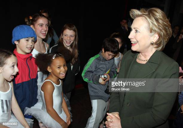"""Hillary Clinton greets the cast backstage at Elton John's New Musical """"Billy Elliott"""" on Broadway at The Imperial Theater on November 29, 2008 in New..."""