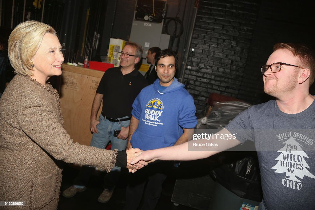 Hillary Clinton greets the company backstage at The Roundabout Theatre Company's hit production of 'John Lithgow: Stories By Heart' on Broadway at The American Airlines Theatre on February 1, 2018 in New York City.