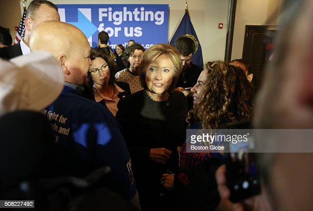 Hillary Clinton greets the crowd following a Women for Hillary event at the Rivermill at Dover Landing in Dover NH Feb 3 2016
