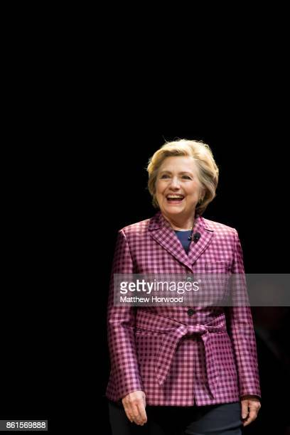 Hillary Clinton is interviewed by Mariella Frostrup at the Cheltenham Literature Festival on October 15 2017 in Cheltenham England The former US...