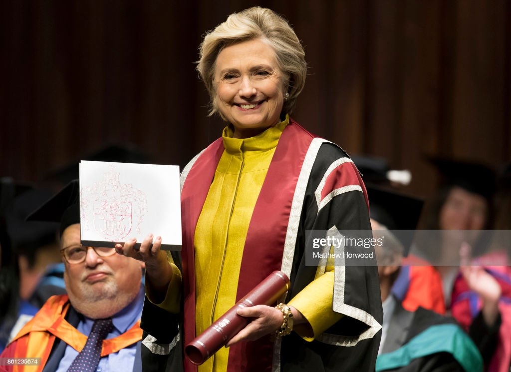 Hillary Clinton is presented with a Honorary Doctorate of Law at Swansea University on October 14, 2017 in Swansea, Wales. The former US secretary of state and 2016 American presidential candidate is also visiting the UK to promote her new book, 'What Happened'.