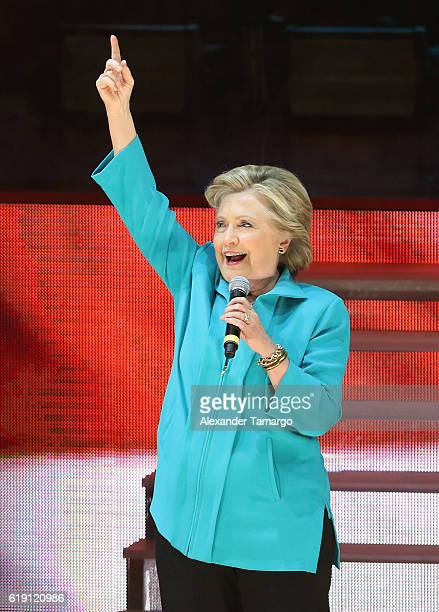 Hillary Clinton is seen at the Jennifer Lopez Gets Loud for Hillary Clinton at GOTV Concert in Miami at Bayfront Park Amphitheatre on October 29 2016...