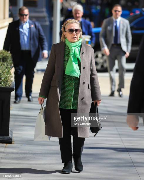 Hillary Clinton is seen visiting her daughter Chelsea Clinton on March 17 2019 in New York City