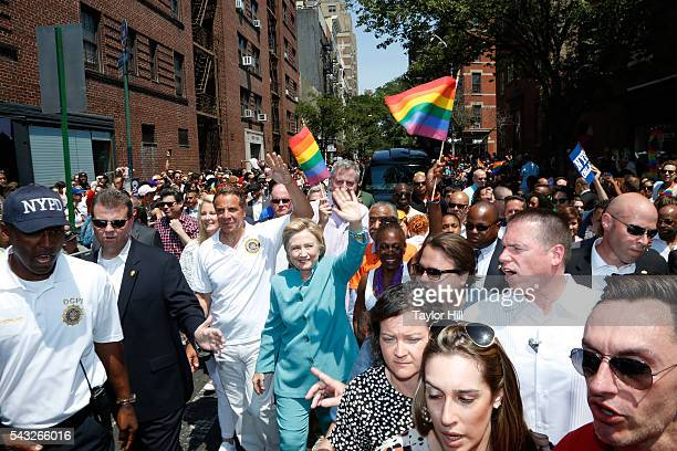 Hillary Clinton joined by Governor Andrew Cuomo Sandra Lee Bill de Blasio Chirlane McCray and Al Sharpton walk in the 2016 Pride March in the West...