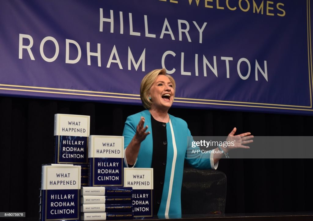 Hillary Clinton kicks off her book tour of her memoire of the 2016 presidential campaign titled 'What Happened' with a signing at the Barnes & Noble in Union Square on September 12, 2017 in New York. Clinton, who on Tuesday released her tell-all memoir about the 2016 presidential campaign, said she has 'no doubt' that Donald Trump's associates helped Russia interfere in the US election. /