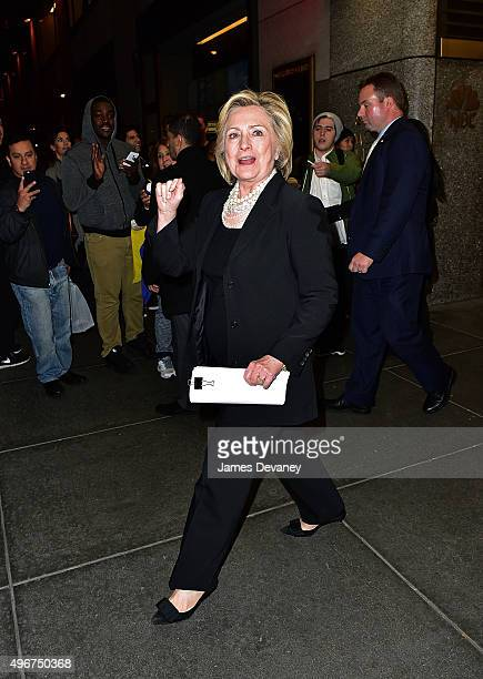 Hillary Clinton leaves Rockefeller Center on November 11, 2015 in New York City.