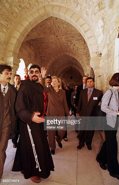 Hillary Clinton leaving the Basilica of the Nativity in Bethlehem on the West Bank