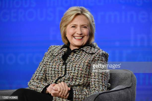 Hillary Clinton of Hillary speaks during the Hulu segment of the 2020 Winter TCA Press Tour at The Langham Huntington Pasadena on January 17 2020 in...