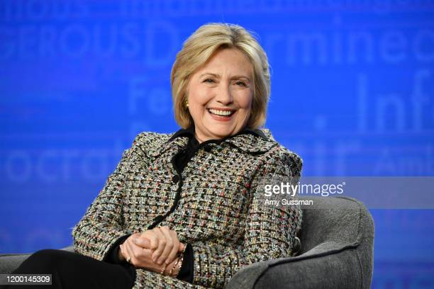 "Hillary Clinton of ""Hillary"" speaks during the Hulu segment of the 2020 Winter TCA Press Tour at The Langham Huntington, Pasadena on January 17, 2020..."